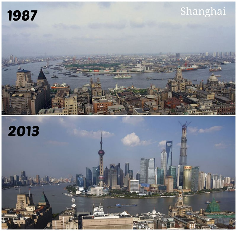 shanghai pudong before and after